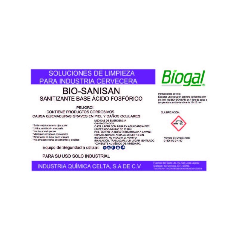 SANITIZANTE BIO-SANISAN  250 ml BIOGAL
